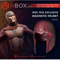 Life, Memes, and Run: BOX  THE MOST EXCLUSIVE BOX  COm  YOU CAN SUBSCRIBE TO  WIN THIS EXCLUSIVE  MAGNETO HELMET  LIFE SIZE  GE abox subscription O abox subscription **EPIC GIVEAWAY** @abox.subscription has teamed up with me to run this awesome giveaway where you can win this exclusive MAGNETO HELMET! The rules are simple! RULES 1. FOLLOW @abox.subsription and LIKE their post 2. COMMENT on their page on why you like MAGNETO and TAG A friend!