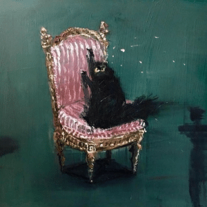 God, Love, and Paintings: boxheadpaint: redlipstickresurrected: Vanessa Stockard (Australian, b. 1975, Sydney, Australia) - Untitled (Satan on Chair), 2018  Paintings: Acrylics on Board fanart because i love this animal   This is the only god I worship