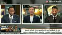 BOXINGHYPE  FIRST  TAKE  C Gennady vs Canelo Alvarez would likely be next fighti both win their  upcoming bouts according to Golden Boy Promotions President Eric Gomez  GENNADY GOLOWKUN JOINS THE SHOW @GGGBoxing said that @Canelo has done nothing and that @floydmayweather is the best P4P . After the fight with @JCChavezJR Canelos gonna have to step it up and give the Fans they fight We've been asking for. 🎥 @BoxingHype Boxing BoxingHype Boxeo GGG Golovkin GolovkinJacobs FloydMayweather Mayweather Canelo JCCjR CaneloWeight Middleweight Box BoxingMemes