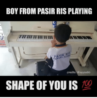 Anaconda, Memes, and Boy: BOY FROM PASIR RIS PLAYING  lohn  TITI  PASIR RIS  RIMARY SCHOO  credits: @ayysabb  SHAPE OF YOU IS  100 Meanwhile, when I was his age all I could do was build a Legohouse.