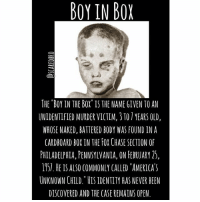 """Ass, Memes, and Chase: BOY IN BOX  THE """"BOY IN THE BOX"""" IS THE NAME GIVEN TO AN  UNIDENTIFIED MURDER VICTIM, 3 TO 7 YEARS OLD,  WHOSE NAKED, BATTERED BODY WAS FOUND INA  CARDBOARD BOXINTH F CHASE SECTION O  PHLADELPHIA, PENNSYLVANIA, ON FEBRUARY 25,  1151. HE IS ALSO COMMONLY CALLED """"AMERICAS  UNKNOWN CHILD.""""肛S IDENTITY HAS NEVER BEEN  DISCOVERED AND THE CASE REMAINS OPEN stick 6 salt shakers up my ass I swear"""