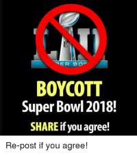 Super Bowl: BOYCOTT  Super Bowl 2018.  SHARE if you agree!  Re-post if you agree!