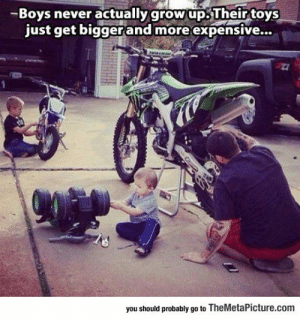 Tumblr, Blog, and Http: -Boys never actually grow up.Their toys  just get biggerand more expensive...  you should probably go to TheMetaPicture.com srsfunny:Boys Never Grow Up
