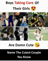 Cute, Girls, and Memes: Boys Taking Care Of  Their Girls  Are Damn Cute  Name The Cutest Couple  You Know Follow our new page - @sadcasm.co