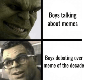 What is it: Boys talking  about memes  Boys debating over  meme of the decade What is it