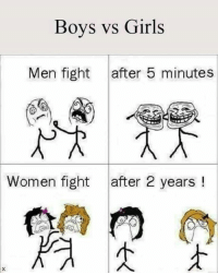 Boys Vs Girls: Boys vs Girls  Men fight  after 5 minutes  Women fight after 2 years