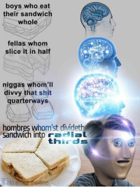 "Meme, Memes, and Shit: boys who eat  their sandwich  whole  fellas whom  slice it in half  niggas whom'll  divvy that shit  quarterways  hombres whom'st dividet  sandwich into radial  thirds <p>I divideth this meme unto thee via /r/memes <a href=""http://ift.tt/2zj7uIL"">http://ift.tt/2zj7uIL</a></p>"