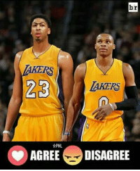 Anthony Davis and Russell Westbrook to Lakers.?  Agree - ❤ DisAgree - 😠  #PilipinasLakersNation #WWLG4L: br  23  LAKERS  AGREE DISAGREE Anthony Davis and Russell Westbrook to Lakers.?  Agree - ❤ DisAgree - 😠  #PilipinasLakersNation #WWLG4L