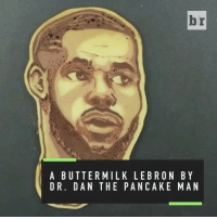 "Memes, 🤖, and Art: br  A BUTTERMILK LEB RON BY  DR. DAN THE PAN CAKE MAN Repost:@BleacherReport-""You can make art out of anything! Pancake artist @drdancake uses his grill as his canvas"" 🥞💯 NationalPancakeDay WSHH"