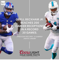 Beer, Facts, and Odell Beckham Jr.: br  ATM  ODELL BECKHAM JR.  REACHES 200  CAREER RECEPTIONS  IN A RECORD  30 GAMES.  PREVIOUS RECORD: 33 GAMES)  JARVIS LANDRY  Coors LIGHT  COLD HARD FACTS  BILITY cooRS BREwING co, GOLDEN, co  GREAT BEER GREAT  MIAMI  Dolphins OBJ on the fast track to greatness ClimbOn