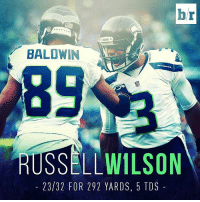 Russell Wilson has another monster day as the Seahawks crush the Ravens 35-6 🔥: br  BALDWIN  SEAHAWKS  RUSSELL WILSON  23/32 FOR 292 YARDS, 5 TOS Russell Wilson has another monster day as the Seahawks crush the Ravens 35-6 🔥