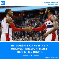 John Wall and Bradley Beal insist they fight like brothers, not jealous teammates. @ric_bucher goes inside the perceived beef between the two stars (Read the full story in the B-R app - link in bio): br  BRADLEY BEAL  ON JOHN WALL  HE DOESN'T CARE IF HE'S  WRONG A MILLION TIMES  HE'S STILL RIGHT.  VIA BIR'S RIC BUCHER John Wall and Bradley Beal insist they fight like brothers, not jealous teammates. @ric_bucher goes inside the perceived beef between the two stars (Read the full story in the B-R app - link in bio)
