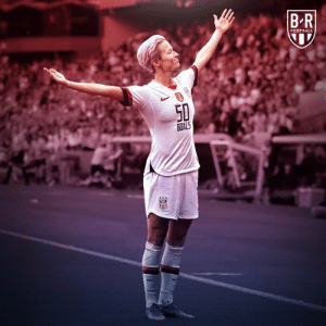 WE HAVE A GOAL.  Megan Rapinoe scores her 50th USWNT goal  1-0 #USA: BR  FOOTBALL  50  GOALS  uSA WE HAVE A GOAL.  Megan Rapinoe scores her 50th USWNT goal  1-0 #USA