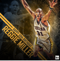 Hall of Famer. 8 points in 9 seconds. 5-time All-Star. Happy 50th to @reggiemillertnt. 🎂🏀🎂: br Hall of Famer. 8 points in 9 seconds. 5-time All-Star. Happy 50th to @reggiemillertnt. 🎂🏀🎂