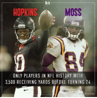 DeAndre Hopkins and Randy Moss: Only players with at least 3,500 receiving yards before turning 24.: br  HOPKINS  MOSS  Riddell  TEAMS  ONLY PLAYERS IN NFL HISTORY WITH  3.500 RECEIVING YARDS BE FORE TURNING 24  ORTSCENTER DeAndre Hopkins and Randy Moss: Only players with at least 3,500 receiving yards before turning 24.