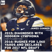 James Conner. A true inspiration.: br  JAMES CONNER  2015: DIAGNOSED WITH  HODGKIN LYMPHOMA  2016: RUSHES FOR 1,060  YARDS AND DECLARES  FOR 2017 NFL DRAFT James Conner. A true inspiration.