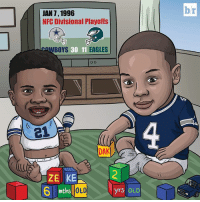 Dallas Cowboys, Philadelphia Eagles, and Game: br  JAN 7, 1996  NFC Divisional Playoffs  WBOYS  30 11  EAGLES  (A  ZE KE  mths  OLD  yrs OLD #DemBoyz were babies the last time the Cowboys won an NFC Divisional Playoff game