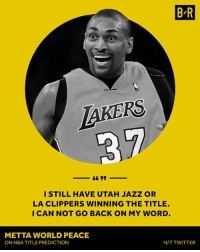 No take backs!: BR  LaKERS  I STILL HAVE UTAH JAZZ OR  LA CLIPPERS WINNING THE TITLE.  I CAN NOT GO BACK ON MY WORD  METTA WORLD PEACE  ON NBATITLE PREDICTION  H/T TWITTER No take backs!