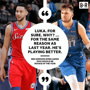 Last season's ROY gives his vote 👀: B'R  LUKA. FOR  5miles  SURE. WHY?  IRS  FOR THE SAME  REASON AS  LAST YEAR. HE'S  PLAYING BETTER.  BEN SIMMONS WHEN ASKED  WHO SHOULD BE  ROOKIE OF THE YEAR Last season's ROY gives his vote 👀