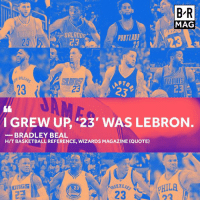 What's the significance of players wearing the number 23? Today, the answer depends on who you ask #BRmag http://ble.ac/2oNqZQy: BR  MAG  ORLANDD  PORTLAND  DALLAS  APTo  23  C3  23  232  I GREW UP 23' WAS LEBRON  BRADLEY BEAL  HITBASKETBALL REFERENCE, WIZARDS MAGAZINE (QUOTE)  pHILA  23 What's the significance of players wearing the number 23? Today, the answer depends on who you ask #BRmag http://ble.ac/2oNqZQy