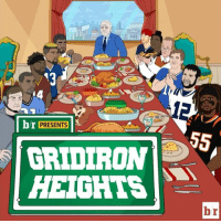"Sports, Leggings, and Table: br  PRESENTS  GRIDIRON  HEIGHTS ""NOW GRONK EAT DEAD BIRD LEG!"" GridironHeights stars are thankful for a lot as they reminisce at Jerry Jones' table this Thanksgiving."