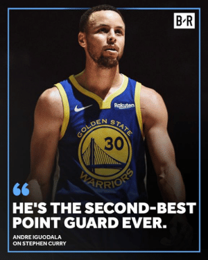 Only Magic is ahead of Steph in Andre's eyes: B'R  Rakuten  30  RIO  HE'S THE SECOND-BEST  POINT GUARD EVER.  ANDRE IGUODALA  ON STEPHEN CURRY Only Magic is ahead of Steph in Andre's eyes