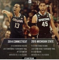 The path of this year's Michigan State team is eerily similar to UConn's 2014 championship squad. TeamStream 🏀😱: br  SPARTANS  CONN  45  2014 CONNECTICUT 2015 MICHIGAN STATE  12-6 CONFERENCE RECORD  12-6 CONFERENCE RECORD  LOST CONFERENCE TOURNAMENT FINAL  LOST CONFERENCE TOURNAMENT FINAL  #7 EAST REGION  #7 EAST REGION  DEFEATED 10, 2, 38 4 SEEDS  DEFEATED 10,2, 384 SEEDS  The path of this year's Michigan State team is eerily similar to UConn's 2014 championship squad. TeamStream 🏀😱