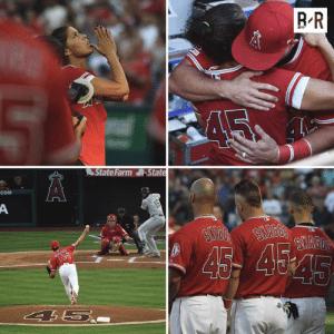 All for Tyler ❤️  - Combined no hitter - 13-0 win - No. 45 on every jersey - Mom with perfect strike first pitch  Angels left it all on the field: BR  State Farm State  COM  A  16  SHAGG'S  SYAGGS  45 454  AS  45  4 5.. All for Tyler ❤️  - Combined no hitter - 13-0 win - No. 45 on every jersey - Mom with perfect strike first pitch  Angels left it all on the field