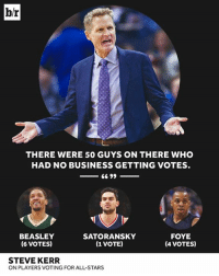 🤔: br  THERE WERE 50 GUYS ON THERE WHO  HAD NO BUSINESS GETTING VOTES  BEASLEY  (6 VOTES)  SATORANSKY  (1 VOTE)  FOYE  (4 VOTES)  STEVE KERR  ON PLAYERS VOTING FOR ALL-STARS 🤔