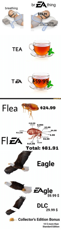 Funny, Head, and Eagle: br  thing  breathing  $59 99  DLC: lungs $19.99  $5.99 to unlock oxygen   TEA  ТЕЛ  59.99  funny   Flea  $24.99  $19.99  abdomen 8.99$  thorax$3.99  antenna  $4.99  genitalia  head  $11.99  eye $.99  mouth parts  $4.99  Fl  TM  legs  claws  $14.99 $10.99  Total: $81.91   Eagle  Agle  59.99 S  DLC  29.99 $  Collector's Edition Bonus  10 $ more than  Standard Edition 😂 https://t.co/sGv9LdnOU8