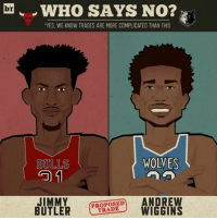"""Sports, Wolves, and Butler: br WHO SAYS NO?  """"YES, WE KNOW TRADES ARE MORE COMPLICATED THAN THIS  WOLVES  BULLS  GO 1  JIMMY  ANDREW  BUTLER  TRADE  WIGGINS A Thibs-Jimmy Buckets reunion in Minnesota?"""
