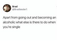 Memes, Alcoholic, and Single: Brad  Bradleeder1  Apart from going out and becoming an  alcoholic what else is there to do when  you're single 🤷🏽‍♀️🤷🏽‍♀️