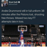 Memes, The Game, and Andre Drummond: Brad Galli  @Brad Galli  Andre Drummond still in full uniform 38  minutes after the Pistons lost, shooting  free throws. Missed two key FT  attempts late in loss.  TISSOT Drummond worked on his free throws in full uniform well after the game was over.  Booker T