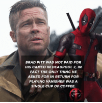 👌👌 • • • • Follow @deadpoolfacts for your daily Deadpool dose. deadpool2 ryanreynolds xforce mcu infinitywar comiccon deadpool marvel bradpitt: BRAD PITT WAS NOT PAID FOR  HIS CAMEO IN DEADPOOL 2, IN  FACT THE ONLY THING HE  ASKED FOR IN RETURN FOR  PLAYING VANISHER WAS A  SINGLE CUP OF COFFEE.  DEADPOBL  FACTS 👌👌 • • • • Follow @deadpoolfacts for your daily Deadpool dose. deadpool2 ryanreynolds xforce mcu infinitywar comiccon deadpool marvel bradpitt