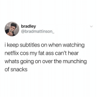 Ass, Fat Ass, and Netflix: bradley  @bradmattinson_  i keep subtitles on when watching  netflix cos my fat ass can't hear  whats going on over the munching  of snacks pls get me to 3m
