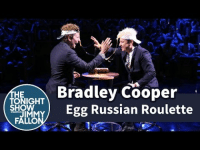 """Target, youtube.com, and Bradley Cooper: Bradley Cooper  HE  TONIGHT  Egg Russian Roulette  SHOW  JIM  FALLO <p class=""""p1""""><a href=""""https://www.youtube.com/watch?v=ZVUfnJipFh0&list=UU8-Th83bH_thdKZDJCrn88g"""" target=""""_blank""""><span class=""""s1"""">Things get REAL messy when Jimmy and Bradley Cooper face-off in a game of Egg Russian Roulette!</span></a></p>  <p></p>"""