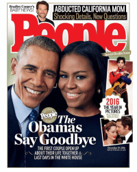 PresidentObama and FLOTUS MichelleObama cover the latest issue of People magazine! 🇺🇸 @People WSHH: Bradley Cooper's  ABDUCTED CALIFORNIA MOM  BABY NEWS!  Shocking Details, New Questions  ecial Double Issue  2016  THE YEAR IN  CLUSIV  PICTURES  Plus! Tributes,  D D  The  Splits & More  Obamas  Say Goodbye  THE December 19, 2016  DISPLAY UNTIL DEC. 23, 2016  ABOUT THEIR LIFE TOGETHER &  LAST DAYS IN THE WHITE HOUSE PresidentObama and FLOTUS MichelleObama cover the latest issue of People magazine! 🇺🇸 @People WSHH