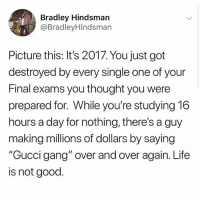 """😑: Bradley Hindsmarn  @BradleyHindsman  Picture this: It's 2017. You just got  destroyed by every single one of your  Final exams you thought you were  prepared for. While you're studying 16  hours a day for nothing, there's a guy  making millions of dollars by saying  """"Gucci gang"""" over and over again. Life  is not good. 😑"""