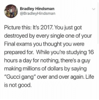 """The struggle: Bradley Hindsmarn  @BradleyHindsman  Picture this: It's 2017. You just got  destroyed by every single one of your  Final exams you thought you were  prepared for. While you're studying 16  hours a day for nothing, there's a guy  making millions of dollars by saying  """"Gucci gang"""" over and over again. Life  is not good. The struggle"""