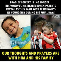 Heart-Breaking, the world is with you BradleyLowery ❤️⚽️ ... ➡️Credit: OriginalTrollFootball: BRADLEY LOWERY IS 'NO LONGER  RESPONSIVE', HIS HEARTBROKEN PARENTS  REVEAL AS THEY WAIT WITH TERMINALLY-  ILL YOUNGSTER DURING HIS FINAL DAYS  #AZR  OriginalTrollFoothal  OUR THOUGHTS AND PRAYERS ARE  WITH HIM AND HIS FAMILY Heart-Breaking, the world is with you BradleyLowery ❤️⚽️ ... ➡️Credit: OriginalTrollFootball