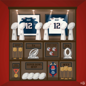 Take a look inside @TomBrady's trophy case:   Rings: 💍💍💍💍💍💍 Pro Bowls: 🌴🌴🌴🌴🌴🌴🌴🌴🌴🌴🌴🌴🌴🌴 MVPs: 🥇🥇🥇 https://t.co/u27B30psuL: BRADY  BRADY  12  12  14x  FIRST TEAM  9 X  OPOY  ALL-PRO SELECTIONS  PRO BOWL  AFC CHAMPIONSHIPS  NFL  NFL  SUPER BOWL  MVP  MOST  CAREER  QB WINS  MVP  A  NFL NFL NFL  EAST  16x  DIVISION  237  aNFL Take a look inside @TomBrady's trophy case:   Rings: 💍💍💍💍💍💍 Pro Bowls: 🌴🌴🌴🌴🌴🌴🌴🌴🌴🌴🌴🌴🌴🌴 MVPs: 🥇🥇🥇 https://t.co/u27B30psuL