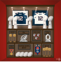 18 seasons worth of hardware. 🏆 https://t.co/QLE2vXCXtu: BRADY  BRADY  12  OPOY  FIRST TEAM  ALL-PRO SELECTIONS  13x  AFC CHAMPIONSHIPS  PRO BOWI  SUPER BOWL  MVP  MOST  CAREER  QB WINS  MVP  EAST  15x  DIVISION  CHAMPS  223  NFL 18 seasons worth of hardware. 🏆 https://t.co/QLE2vXCXtu