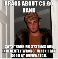 "I am so done.: BRAGS ABOUT cs:Go  RANK  SAYS RANKING SYSTEMS ARE  INHERENTLY WRONG"" WHEN I GET  GOOD AT OVERWATCH. I am so done."