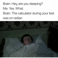 Brain, Calculator, and Test: Brain: Hey, are you sleeping?  Me: Yes. What  Brain: The calculator during your test  was on radian 😳