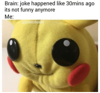 Funny, Memes, and Best: Brain: joke happened like 30mins ago  its not funny anymore  Me:  @pokestudio @see_more has the best memes