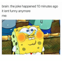 Me 😂: brain: the joke happened 10 minutes ago  it isnt funny anymore  me: Me 😂