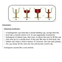 Ass, Drinking, and Memes: brainstatic:  historical-nonfiction:  A Pythagorean cup looks like a normal drinking cup, except that the  bowl has a central column in it. It was supposedly invented by  Pythagoras of Samos (yes, that one). It allows the user to fill the cup  with wine up to a certain level. If the user fills only to that level, the  imbiber may enjoy a drink in peace. If, however, the user gets greedy,  the cup dumps all the wine into the unfortunate victim's lap.  Pythagoras sounds like a real asshole. this is gonna b me when i have greedy ass guests over
