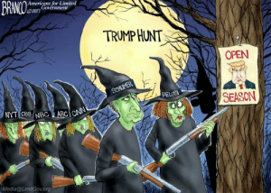 "Tumblr, Blog, and Cartoon: BRAN 0%  Americans for Limited  02017  Government  TRUMP HUNT  OPEN  PELOS  SEASON  1  Media@LimitGov.org ethicalcringe:  ""you should do a cartoon about how the situation with Trump is a witch hunt"" ""yeah… a witch hunt… I'm familiar with those…"""