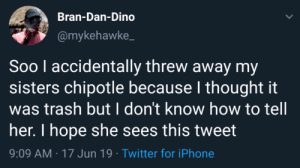 Chipotle, Iphone, and Trash: Bran-Dan-Dino  @mykehawke  Soo l accidentally threw away my  sisters chipotle because I thought it  was trash but I don't know how to tell  her. I hope she sees this tweet  9:09 AM 17 Jun 19 Twitter for iPhone If he goes missing, we know what happened.