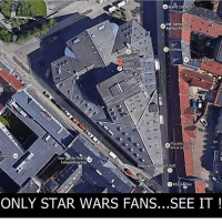 Memes, Ps4, and Star: Brand cit Aps  Den selve Inst  Aarhus Teater  Del house  OA Theatre  Klinik A  Aarhu  Den gamle Post &S.  fbygning  Telegia  ouant ADS  ONLY STAR WARS FANS...SEE IT It's Star Destroyer! starwars darkside darthvader stardestroyer googlemap instagram memes gamer otaku ps4 xboxone pc